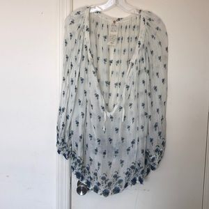 Free People Ivory Blue Floral Flowy Shirt XS